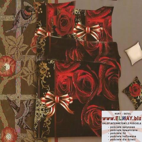 Czarna pościel 160/200 3d w czerwone róże
