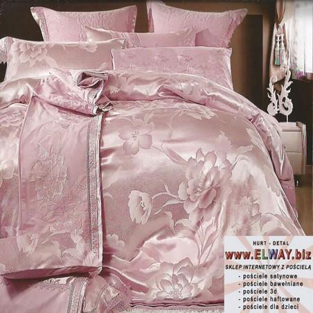 Komplet różowej pościeli 160x200 z haftami