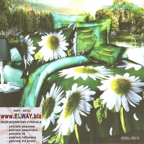 Zielone prześcieradło 3d w kwiatki 200x220