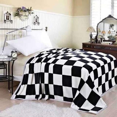 Koc w szachownicę biało-czarny 200x220