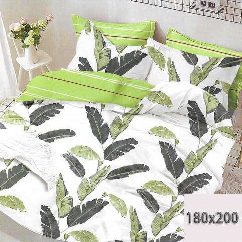 Pościel dwustronna 180x200 3d w liście zielono-biała