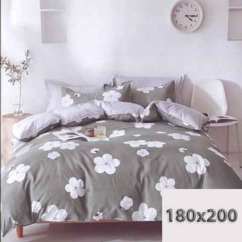 Szara poście w białe kwiaty 180x200