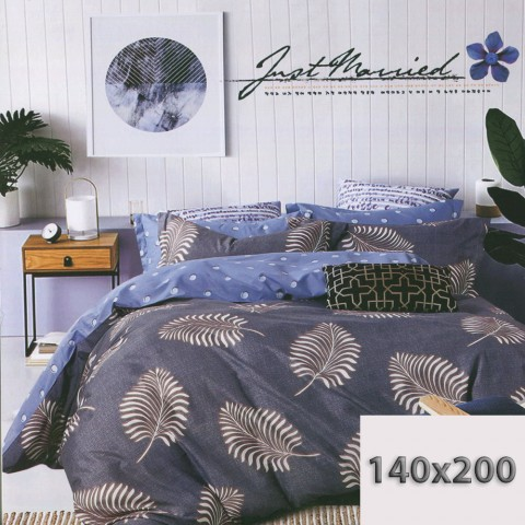 Niebieska pościel w duże liście 140x200
