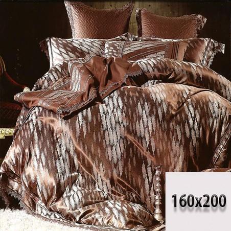 Brązowo beżowa pościel 160x200 z tłoczonym haftem