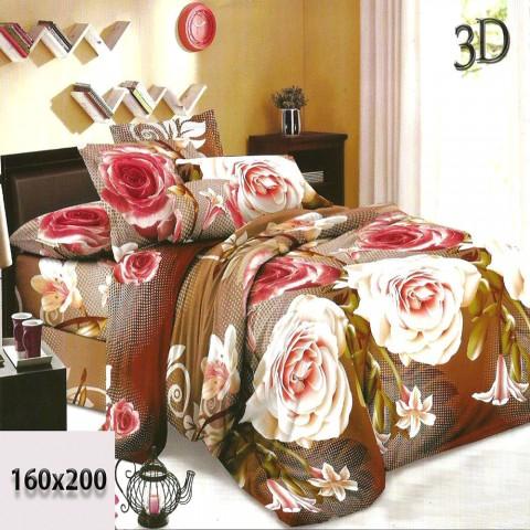 Prześcieradło cieniowane w róże 3d 160x200