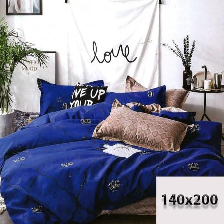 Bawełniana dwustronna pościel 140/200 niebieska i beżowa