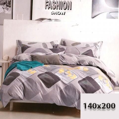Zestaw pościeli szarej dwustronnej 140x200 wzory bawełna