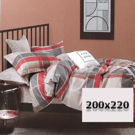 Komplet pościeli we wzory i kratę 200x220