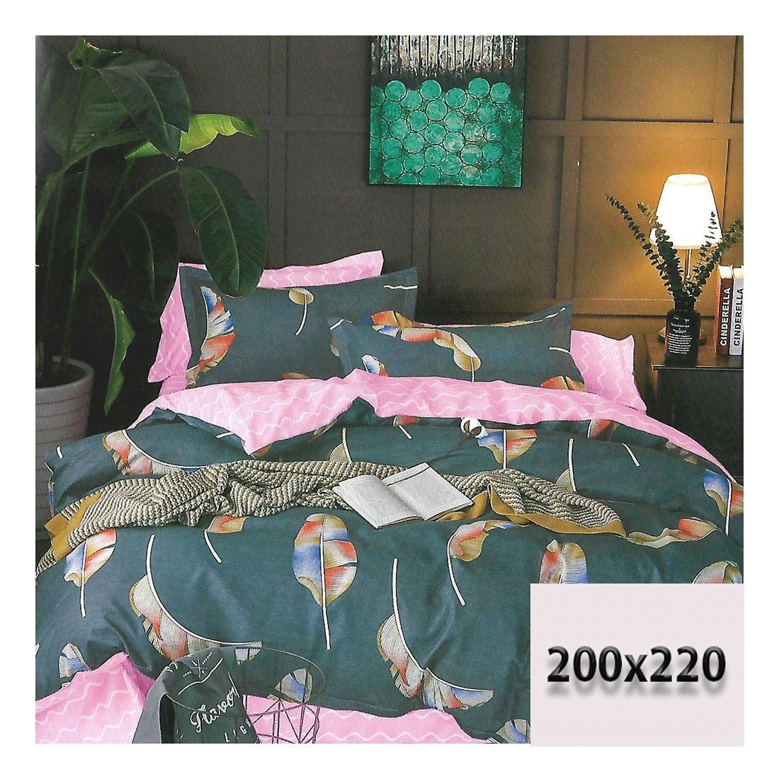 Pościel 3d granatowo-różowa w stylu boho 200x220  dwustronna