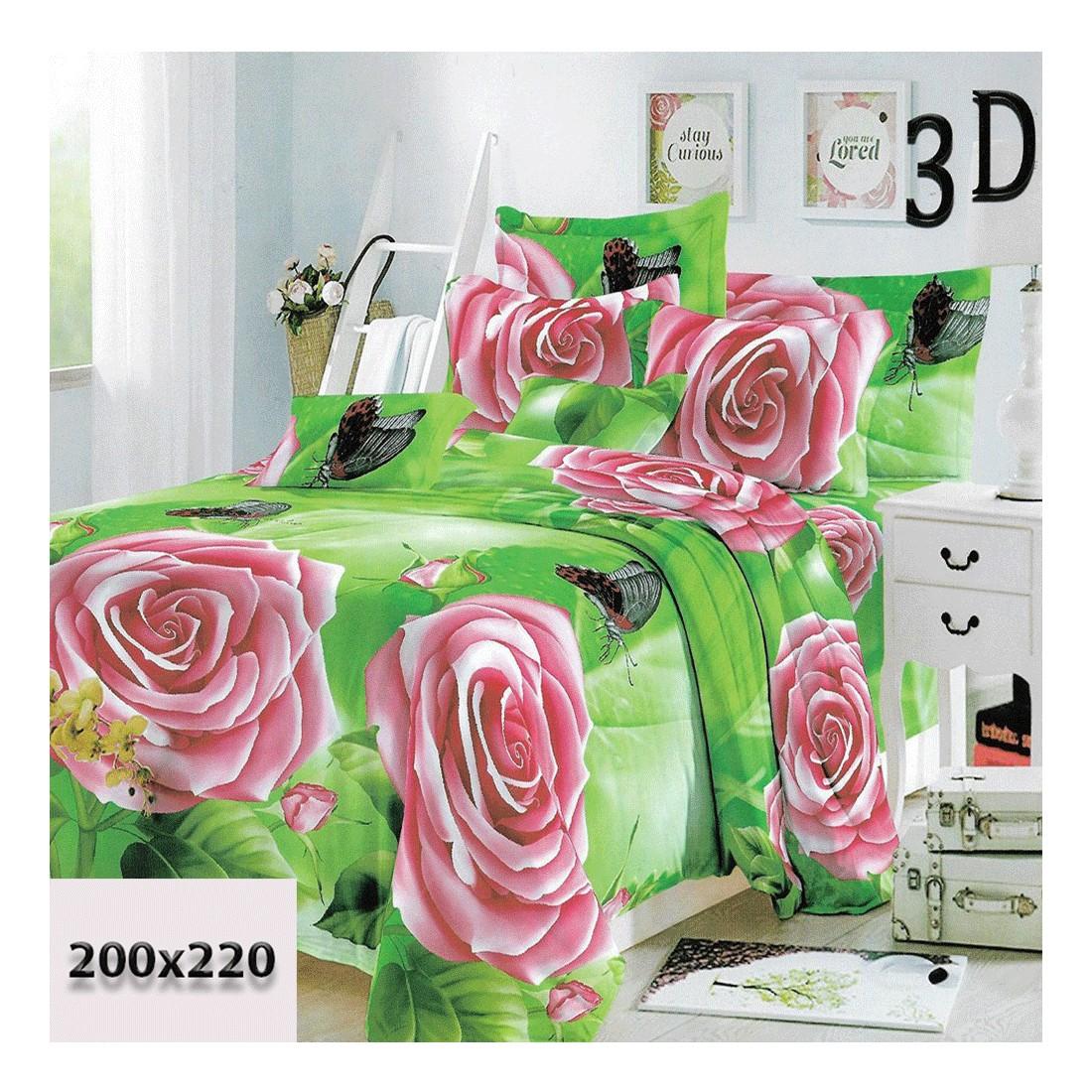 Zielona pościel w różowe róże 200/220