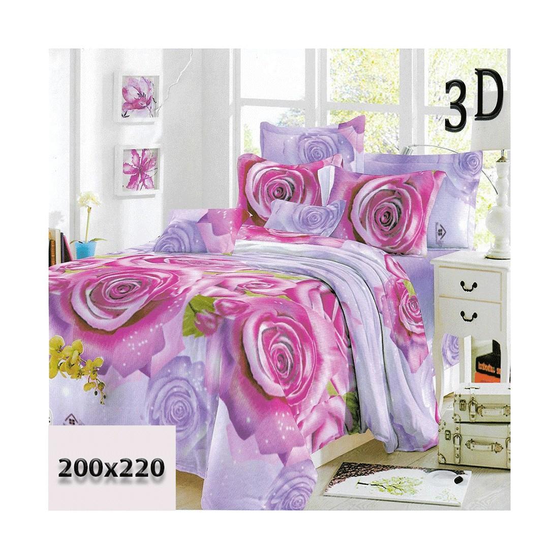 Zestaw pościeli w różowe róże 3d 200/220