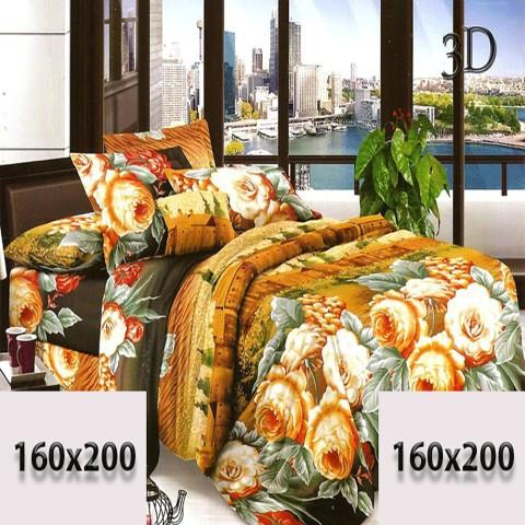 Pościel czarno-beżowa 160/200 3d w kwiaty bawełna