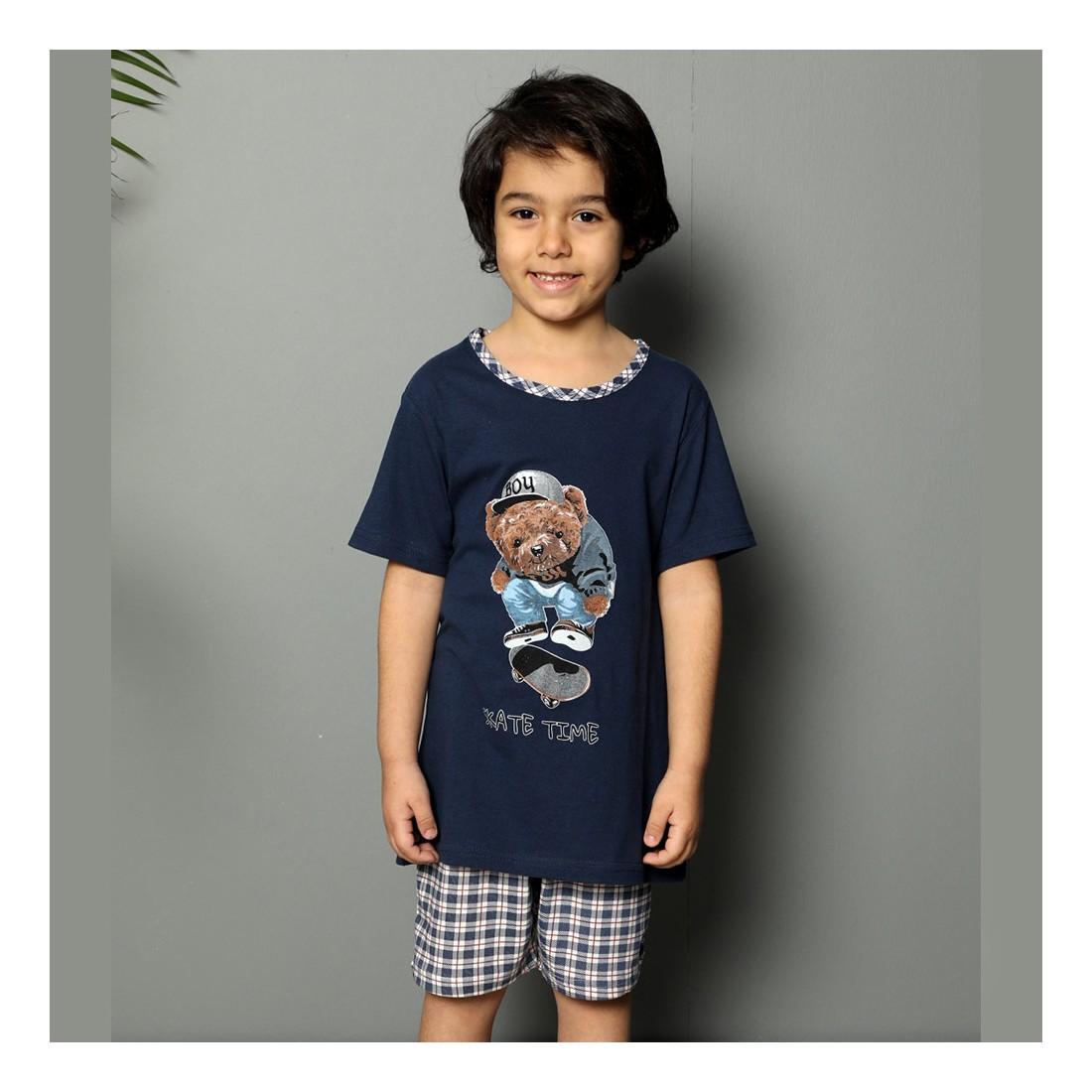 Granatowa piżama dla chłopca z misiem 134 140 146 152 158 164