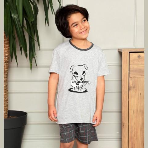 Szara piżama dla chłopca z pieskiem 134 140 146 152 158 164
