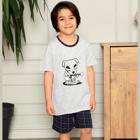 Granatowa piżama chłopięca z nadrukiem 134 140 146 152 158 164