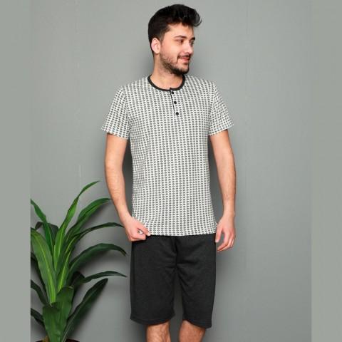 Jasna piżama męska rozpinana w kropki M L XL 2XL 3XL