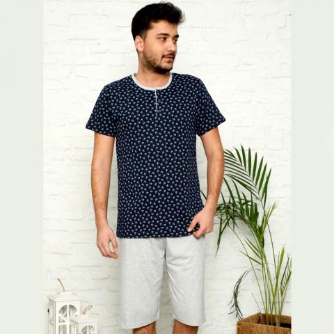 Granatowa piżama męska bawełna rozpinana M L XL 2XL 3XL