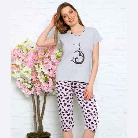 Szara piżama damska dwuczęściowa z kotem M L XL 2XL