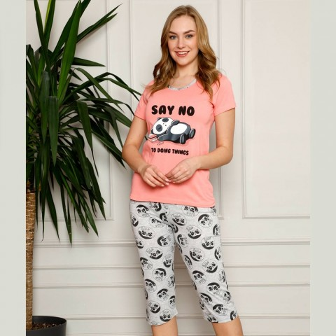 Morelowa ciepła piżama damska z pandą M L XL 2XL