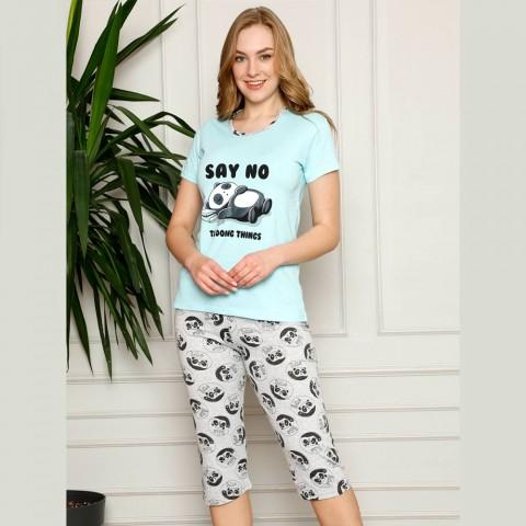 Miętowa ciepła piżama damska z nadrukiem M L XL 2XL