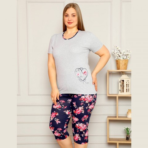 Szary komplet piżama damska XL 2XL 3XL 4XL