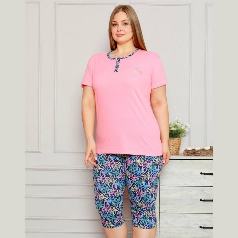 Koralowa piżama damska ciepła w kwiaty XL 2XL 3XL 4XL