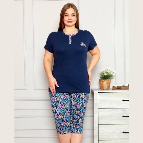 Granatowa piżama damska ciepła rozpinany dekolt XL 2XL 3XL 4XL