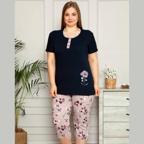 Granatowa elegancka piżama damska XL 2XL 3XL 4XL
