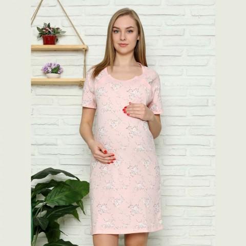 Różowa koszula nocna do karmienia w kwiaty M L XL 2XL