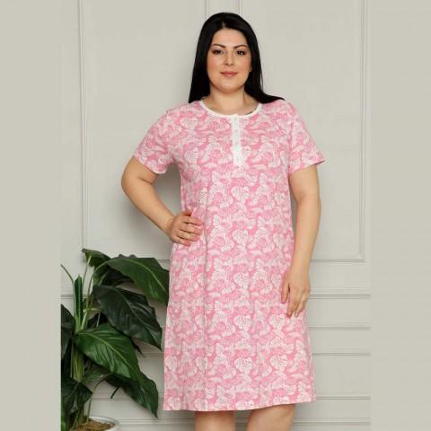 Różowa koszula nocna rozpinana kwiatowy wzór XL 2XL 3XL 4XL