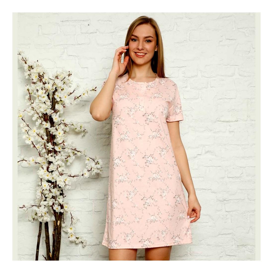 Dziewczęca rozpinana koszula nocna różowa w kwiaty M L XL 2XL