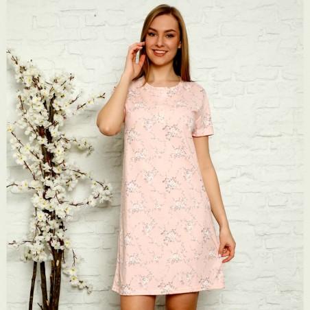 Dziewczęca rozpinana koszula nocna brzoskwiniowa w kwiaty M L XL 2XL