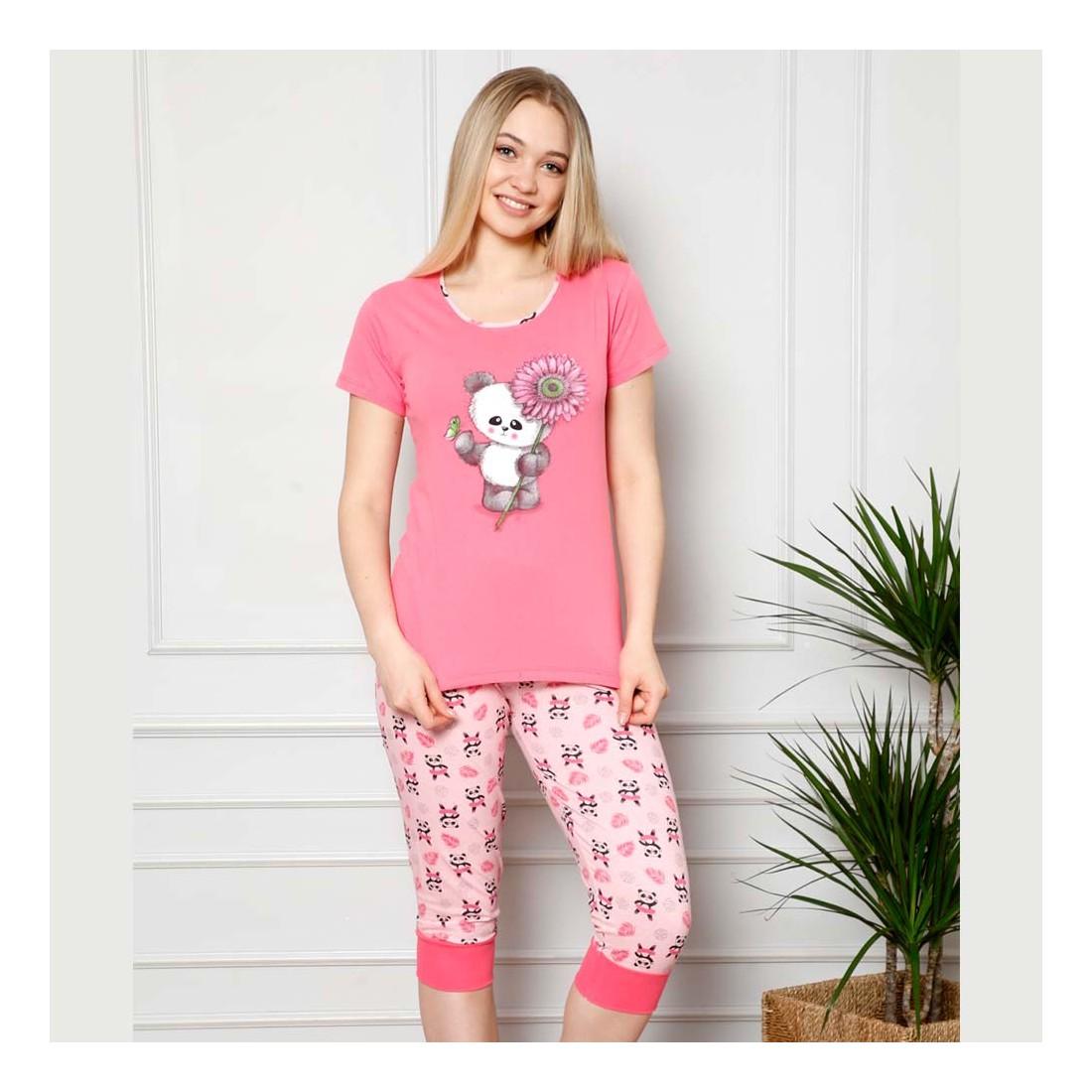 Piżama damska z pandą dwuczęściowa w malinowym kolorze M L XL 2XL