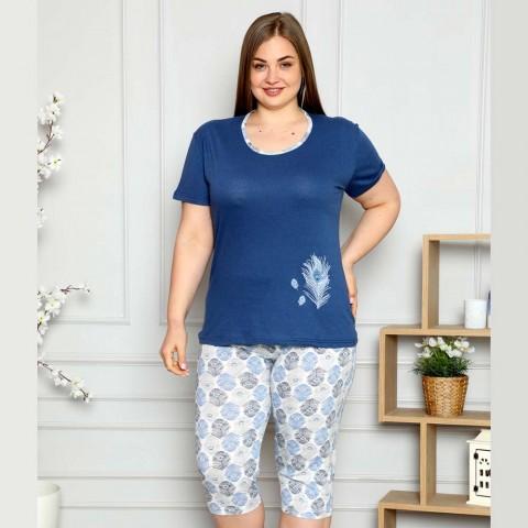 Granatowa wygodna piżama damska dwuczęściowa w piórka XL 2XL 3XL 4XL