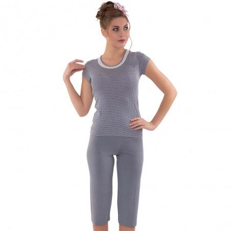 Ciemnoszara piżama damska komplet wzór w kropki M L XL 2XL