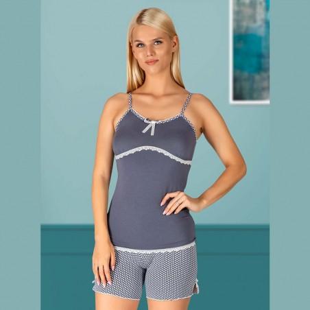 Ciemna letnia piżama damska krótkie spodenki z koronką M L XL 2XL