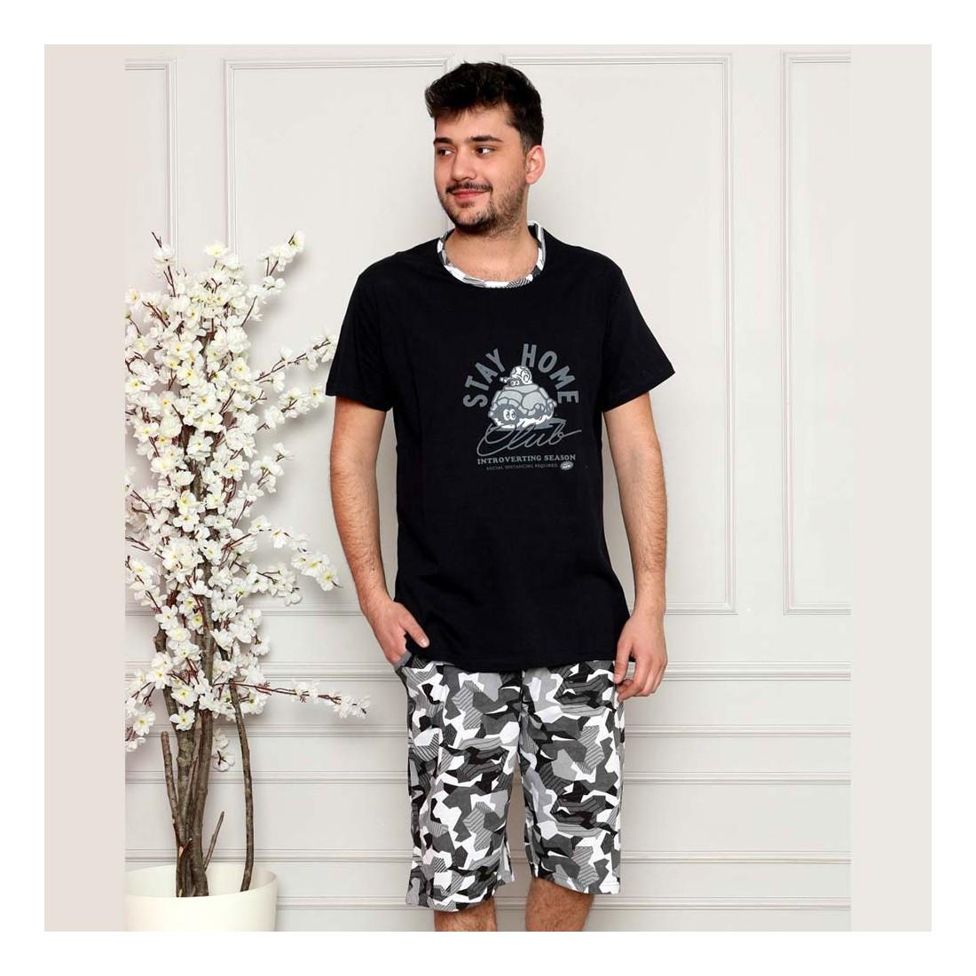 Zabawna granatowa piżama męska bawełna szary wzór moro M L XL 2XL