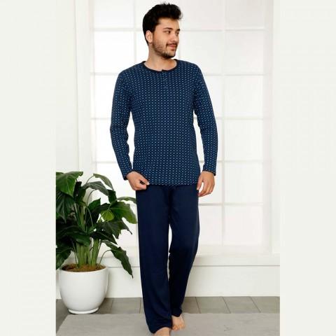 Męska piżama dwuczęściowa długi rękaw z wzorem M L XL 2XL
