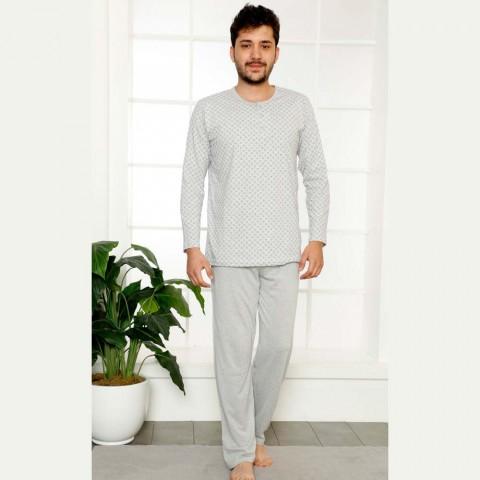Męska dwuczęściowa piżama bawełna jasnoszara M L XL 2XL