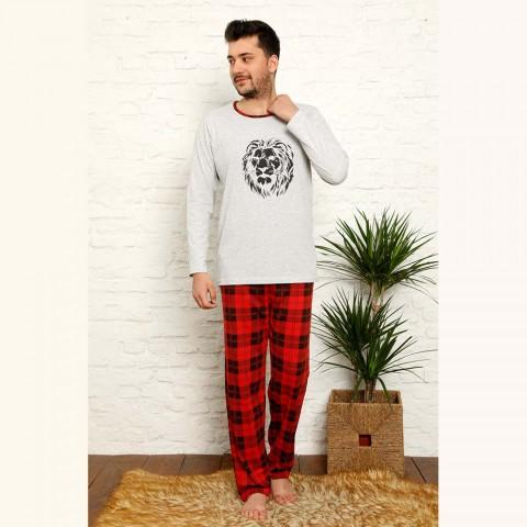 Szaro-czerwona męska piżama bawełna w kratę M L XL 2XL