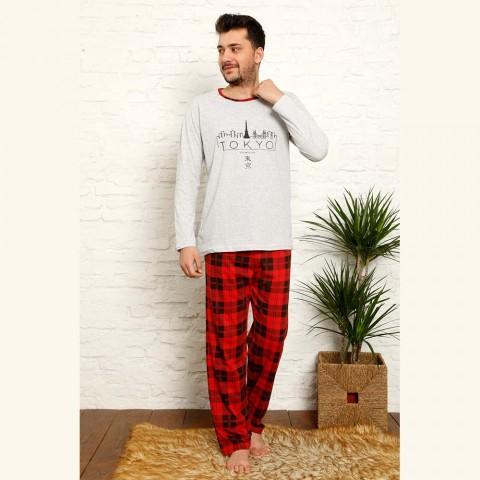 Czerwono-szara piżama męska bawełna w wzór kratę M L XL 2XL