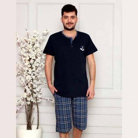 Piżama męska krótka w granatowym kolorze M L XL 2XL 3XL