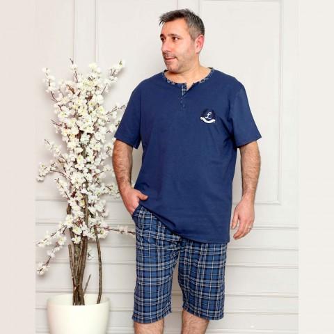 Wygodna piżama męska krótka w ciemnoniebieskim kolorze XL 2XL 3XL 4XL