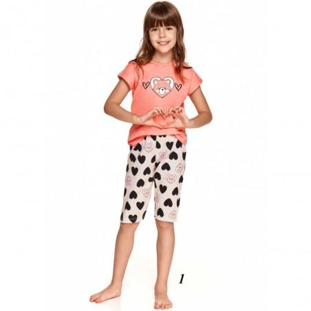 Śliczna bawełniana piżama dziewczęca kolor brzoskwiniowy w serca 116