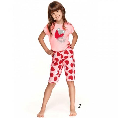 Różowo-czerwona bawełniana piżama dziewczęca z uroczym wzorem 128 140