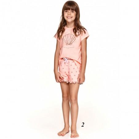 Jasnoróżowa piżama dziewczęca bawełniana z muszelką 128 140