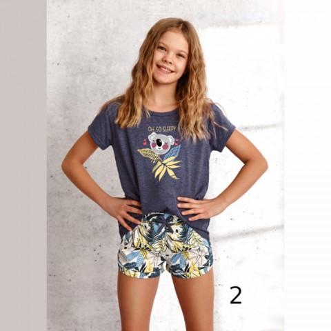 Letnia grafitowa piżama dziewczęca nadruk z koalą 146