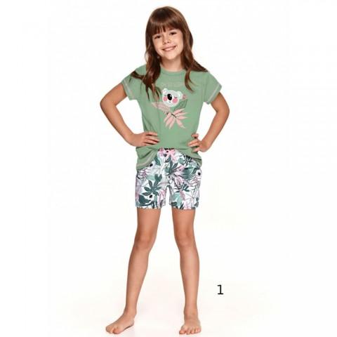 Śliczna letnia piżama dziewczęca zielona z koalą 86 92