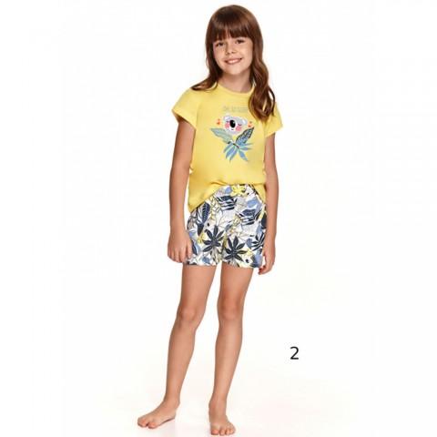 Żółta urocza piżama dziewczęca na lato wzór z koalą 86