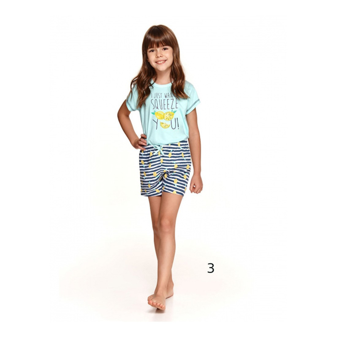 Urocza dziewczęca piżama letnia nadruk z cytrynką 86